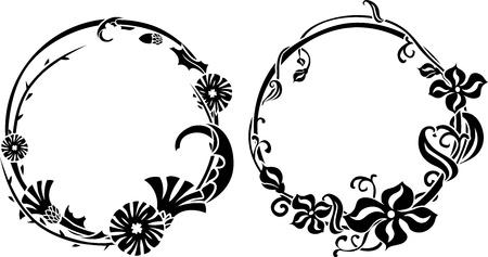black wreath: Two black wreath in art nouveau style