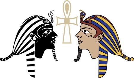sfinx: Egyptische farao hoofd gekleurd en zwart stencil varianten Stock Illustratie
