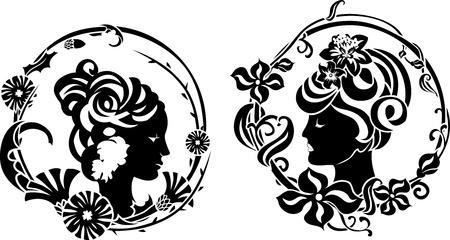 Vignette retro female profile in floral wreath stencil Stock Vector - 13216182
