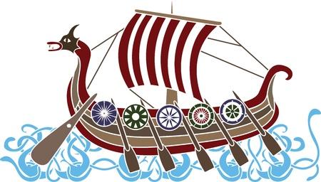 Ancient vikings skepp med sköldar stencil färgad variant Illustration