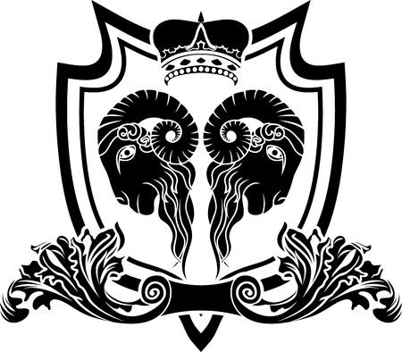 black sheep: Shield with mirror ram and crown black stencil