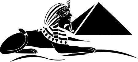 sfinx: Egyptische sfinx met een piramide zwarte stencil Stock Illustratie