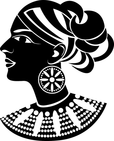Female profile in african style stencil Vector