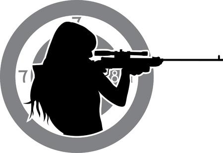 mujer con pistola: chica busca de un rifle con el objetivo de fondo de la plantilla