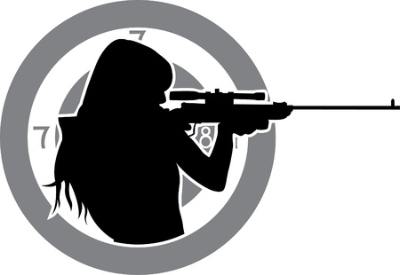 shooting gun: girl aims from a rifle with target background stencil
