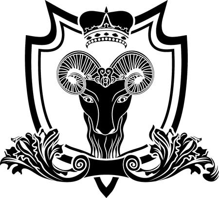 horned: Fullface ram escudo con la corona