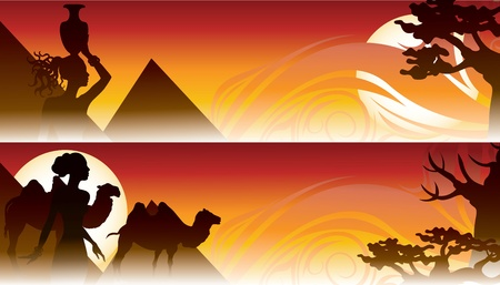 african travel backgrounds with girl camel and pyramid Vector