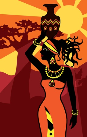 african beautiful woman at sunset vertical background Vector