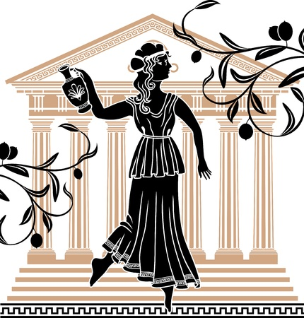 greek mythology: greek woman with amphora temple and olive branches background