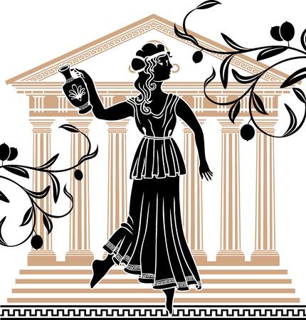 templo griego: la mujer griega con �nforas de fondo del templo y ramas de olivo