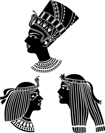 egyptian woman: ancient egypt women profiles set stencil Illustration