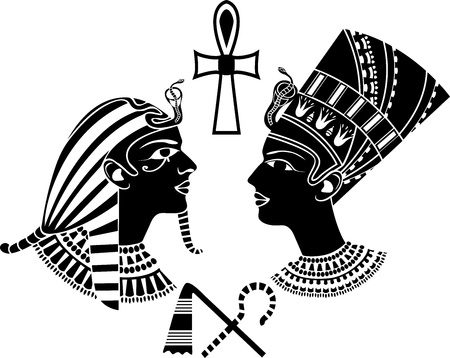 cheops: ancient egypt king and queen, pharaon stencil