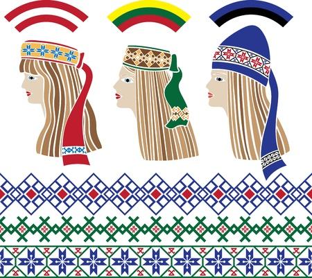Baltic Satz Schablone, Baltic Mädchen in nationalen Kopfbedeckungen und Muster Litauen, Lettland, Estland