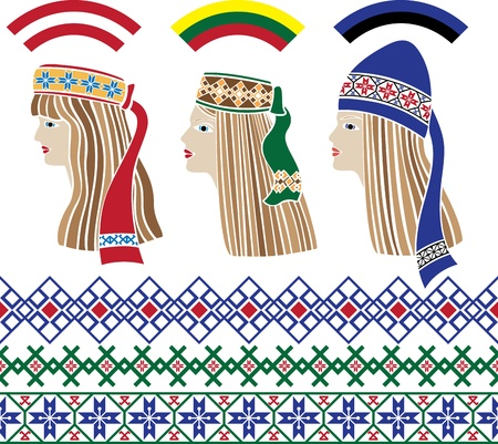 Baltic set of stencil, Baltic girls in national headdresses and patterns Lithuania, Latvia, Estonia Vector