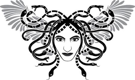 서사시: 마녀의 Gorgona 날개 두 색 스텐실과 머리 일러스트