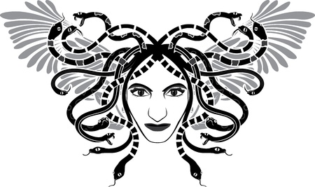 medusa: Medusa Gorgona head with wings two-colored stencil  Illustration