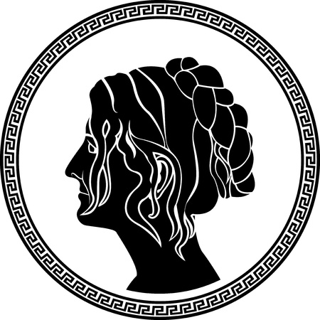 hellenic: greek patrician women profile stencil Illustration