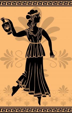 griekse vrouw met amfoor stencil Stock Illustratie
