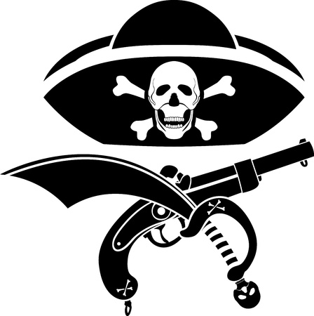 Piracy symbol, hat with skull, gun and sabre stencil Vector