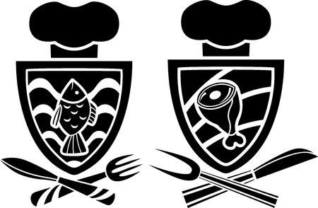 Culinaire emblème, deux variantes, le poisson et la viande avec une fourchette et un couteau