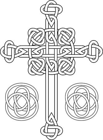 croce celtica: Knotted Croce Celtica stencil Vettoriali