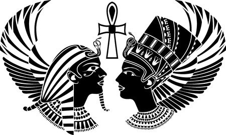 cheops: Ancient egypt king and queen composition with wings