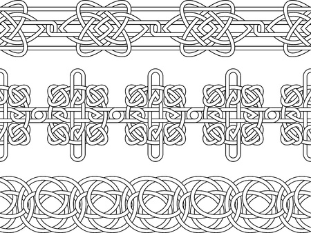Celtic border pattern seamless stencil set Vector