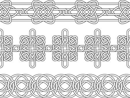 celtico: Celtica confine seamless stencil set Vettoriali