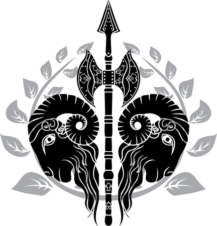 axe with reflected ram head and laurel wreath Vector