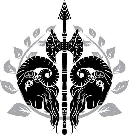 carnero: hacha con cabeza de carnero y se refleja corona de laurel