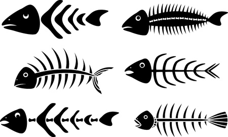 illustration of black fishbone: Various fishbones stencils Illustration