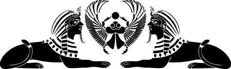 ancient egyptian culture: egyptian sphinx with scarab black stencil Illustration