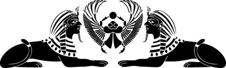 egyptisk Sphinx med skarabé svart stencil Illustration