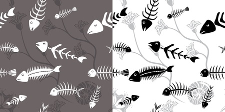 skeleton of fish: Fish seamless wallpaper esqueleto Vectores