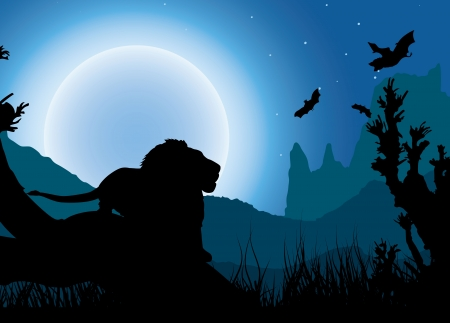African night background, lion has a rest under the moon, silhouette Stock Vector - 14993613