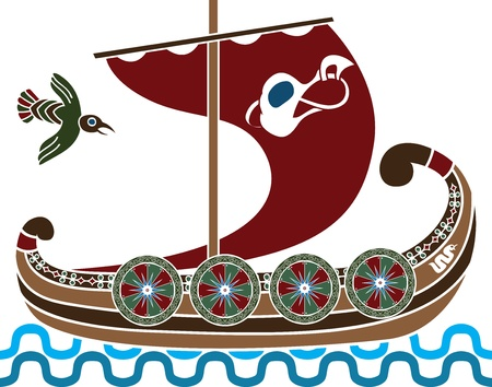 Ancient vikings ship with shields stencil colored variant  Vector