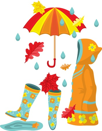 Colorful autumn set. Rubber boots, raincoat, umbrella, leaves and rain Vector