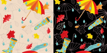 Bright rainy autumn seamless Vector