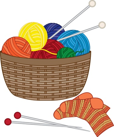 wool fiber: Tejido de punto, cesta con bolas de lana, agujas y calcetines de punto