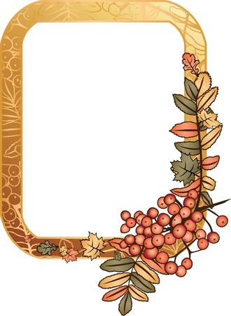 autumn golden frame with rowan berry Vektorové ilustrace