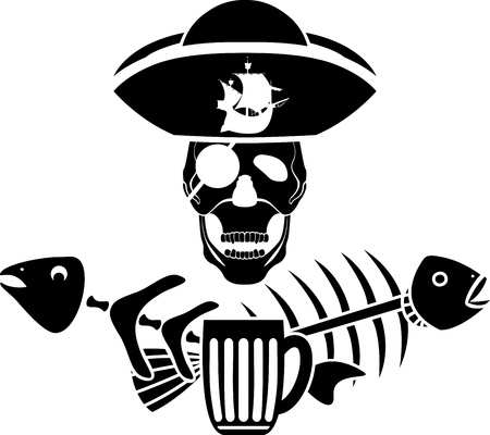 fish bone: Humor piracy tavern symbol stencil