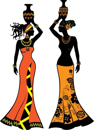 Beautiful African woman with vases,  two versions Stock Vector - 15504703