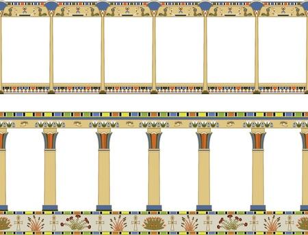 Ilustración vectorial de un elemento arquitectónico, antigua galería de Egipto, el modelo inconsútil aislada