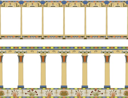 egyptian culture: Vector illustration of architectural element, Ancient Egypt gallery, isolated seamless pattern