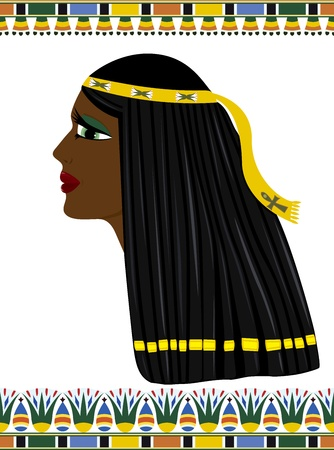 egyptian: Ancient Egypt,  portrait of a beautiful woman in profile Illustration