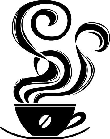 Kop warme koffie met ornament elementen stencil