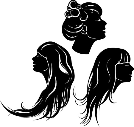 Beautiful girl profile  with different hair dresses, set of stencil Vector