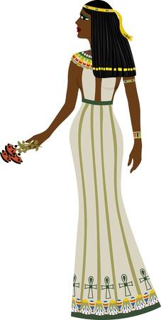 Forntida egyptisk kvinna full längd, färg illustration