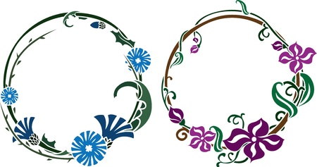 style: Two wreath in art nouveau style colored variant