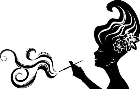 cliche: atractiva mujer de fumar negro plantilla, clich� para la etiqueta engomada